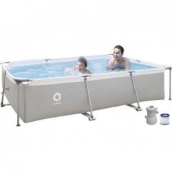 Abnehmbarer Pool mit Aufbereitungsanlage 1136 L. Jilong 17771EU Steel Super Rechteckiger Pool 300x207x65 cm.