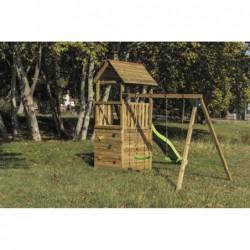 Kinderspielplatz Mit Haus Und Doppel Schaukel Canigo Masgames Ma700205
